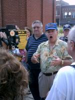 Marion Ten Commandments Press Conference (2010-08-17): Sherman stands with Donelson and speaks to reporters.